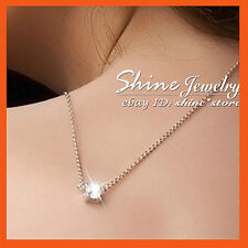 9K ROSE GOLD FILLED ROUND 1CT SOLITAIRE SIMULATED DIAMOND SOLID NECKLACE PENDANT