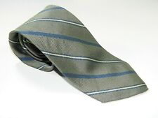 Men's BROOKS BROTHERS MAKERS NECKTIE Tie MADE IN USA GRAY BLUE STRIPES ENGLAND