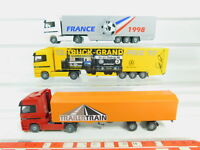 BO689-0,5# 3x Wiking H0/1:87 LKW MB: Trailertrain + Grand-Prix '97 + France, s.g