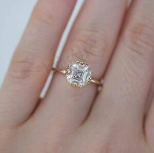 1.50 Ct Asscher Cut Moissanite 10K Solid Yellow Gold Solitaire Engagement Ring