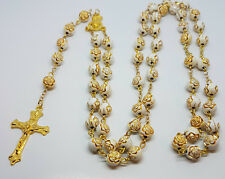 Rose Gold Prayer Rosary 8mm Bead Beads Necklace White Tone Crucifix