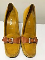 Prada ladies mustard yellow buckle front loafers pumps leather suede size 3