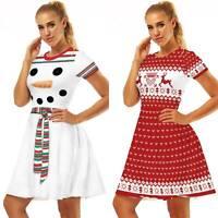 Womens Christmas Midi Swing Dress Xmas Snowman Reindeer Print Xmas Party Dresses