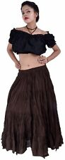 Cotton Gypsy Flamenco Skirt 12 Yard Belly Dance Tribal coffee color for Costume