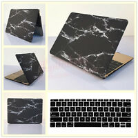 Black Marble Hard Case Cover + Keyboard Skin For Macbook Air Pro 11 12 13 15 ''