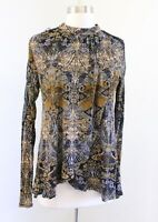 Free People New World Nouveau Blouse Top Lace Trim Size S Abstract Print Linen