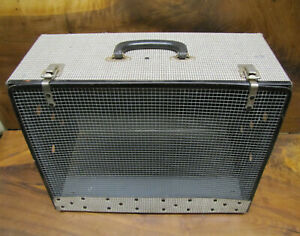 """Vintage ALCO Pet Carrier 1950's Ventilated 18''wide 13""""tall 10""""deep. Houndstooth"""