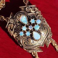 "14k yellow gold necklace 1.5ct opal diamond 28.0"" lariat 1840 antique 39.1g C-49"