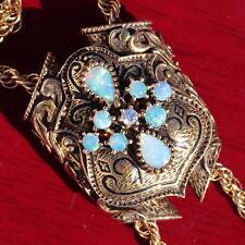 "14k yellow gold necklace 1.5ct opal diamond 28"" lariat 1840 antique handmade 39g"