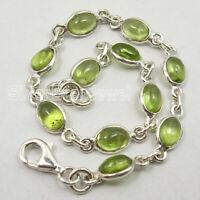 """5 x 7 mm Peridot Chain Bracelet 7.5"""" 925 Pure Sterling Silver Women Art"""
