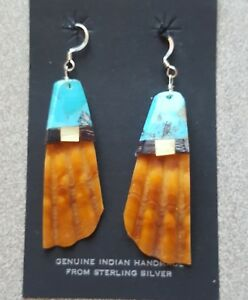Turquoise Shell Jet Drop Earrings Handmade  Sterling Silver Fish Hoop Ear Wires