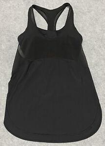 Lululemon Sports Bra Shirt COMBO Black Sheer Tank Top Yoga Gym Blouse NICE! Sz 6