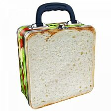 CHEESE & TOMATO SANDWICH TIN TOTE METAL LUNCH BOX NOVELTY BREAD SALAD STORAGE