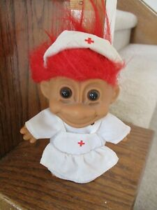 """VINTAGE RUSS BERRIE TROLL 5"""" WEARING NURSE'S OUTFIT FREE SHIPPING"""