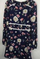Forever 21 Floral Print Dress SZ S NWOT A-Line Knee Length Long Sleeve