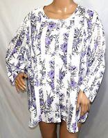N Touch Women Plus 1x 2x 3x Floral Ivory Purple Sheer Chiffon Tunic Top Blouse