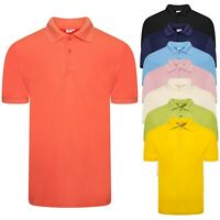 River Road Mens Polo Shirt Short Sleeve Plain Pique T Shirt Summer Top Basic New