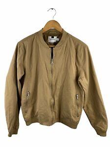 Topman Men's Bomber Jacket Size M Brown Full Zip Pockets Long Sleeve Casual