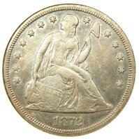 1872-S Seated Liberty Silver Dollar $1 Coin - ANACS AU50 Details - Rare Date!
