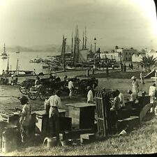 Vtg Magic Lantern Glass Slide Photo Keystone San Juan Harbor Porto Rico