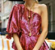 ZARA LIMITED EDITION SEQUINNED ASYMETRIC TOP FUCHSIA SOLD OUT 7926/048 SIZE S