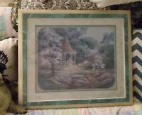 Home Interior HomcoGazebo in Park Print Homco Framed Matted Margie Whittington