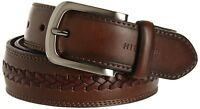 Tommy Hilfiger Men's Brown Belt Ribbon Leather Double-stitched 11tl02x047-brown