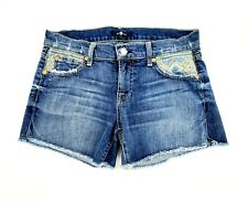 7 FOR ALL MANKIND Embroidered Front Pocket Cut Off Blue Denim Shorts Sz 24