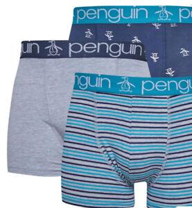Original Penguin Mens 3 Pack AOP Boxers Grey/Aqua/Navy/ Sizes S M new