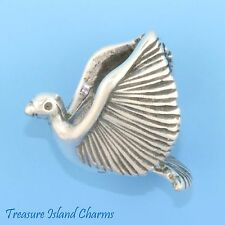 PERROQUET ARA Tropical Oiseau 3D .925 Solid Sterling Silver Charm Pendentif Usa Made