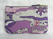 70s Retro Vintage Make Up Bag Zip Purse ipod Case Lilac & Purple Fantasy Floral