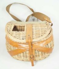 Vintage Fly Fishing Creel Basket Wicker Leather Canvas Decor