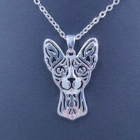 Sphynx Cat Necklace Pendant Pet Lover Necklaces Alloy Kitty Head Jewelry Woman