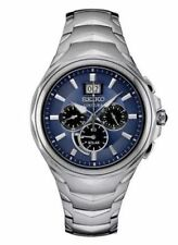 Mens Seiko Solar Gold Silver Stainless Steel Chronograph Date Watch SSC634
