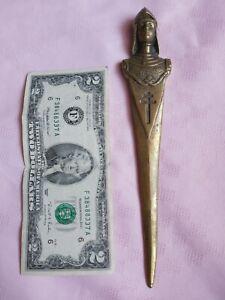 VINTAGE BRONZE BRASS LETTER OPENER PAPER KNIFE PRIEST CRUCIFIX 26