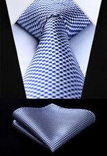 "Men Tie Navy Blue Houndstooth 3.4""Silk Party Handkerchief Set New #TG603V8S"