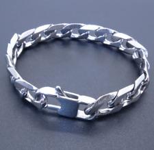pulsera de cadena para Hombre moda esclava joyería de acero inoxidable plata