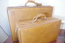 Vintage Hartmann 2 Piece Light Brown Belted Leather Suitcase Luggage