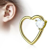 Gold IP 16 Gauge Heart  Ear Cartilage/Daith Hoop Ring with Clear Heart Set CZ