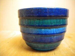 : retro Italian Bitossi rimini blue planter by Aldo Londi