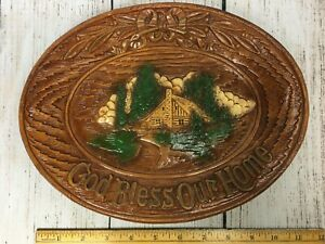 Inspirational Wall Platter God Bless Our Home 11 x 8.5 Molded Wood Look