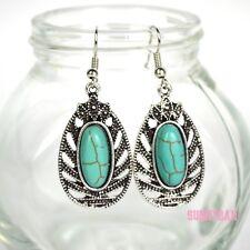 New Fashion Boho Bohemian Tibetan Silver Turquoise Stone Oval Drop Earrings