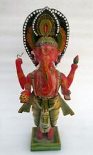 Antique Old Rare Hand Lacquer Painted Wooden Hindu God Ganesha Statue Sculpture