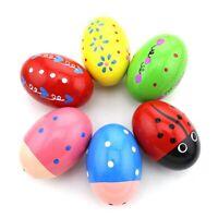 Set de 6 percusion de madera Huevo musical Maracas Egg Shakers para ninos I1P1