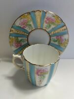 Royal Albert Cottage Garden Demitasse Cup and Saucer, Bone China, Vintage #7617