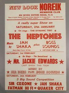 Reggae promo concert poster - Heptones & Jah Shaka & Sir Coxone 1979 A3 reprint