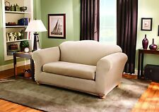Sure Fit Stretch Stripe 2-Piece - Sofa Slipcover - Sand (SF37632)