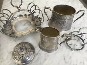 Silver French Table Setting Toast Jam jugs C1800-1850s 5 Pieces Scrap ? Jy123