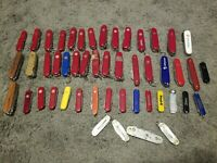 USED Victorinox & Wenger Swiss Army knives lot of 49 Pocket Knives