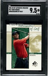 2001 UD SP Authentic Preview Tiger Woods SGC 9.5